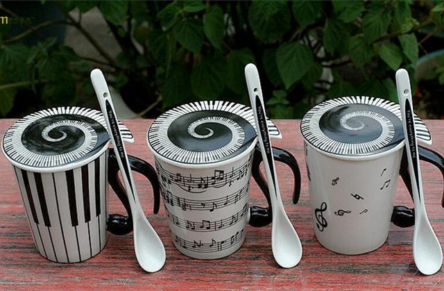 Piano Keyboard Music Themed Ceramic Mugs with Lid