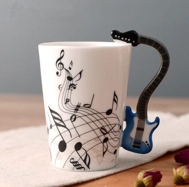 Guitar Handle Music Themed Note Coffee Mug