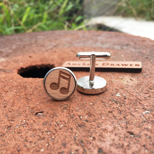 Ameko's Drawer Musical Note Wooden Cufflinks