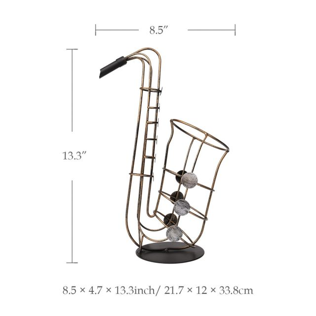 Metal Saxophone Shaped Elegant Wine Bottle Holder