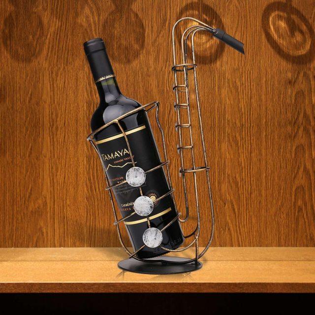 Metal Saxophone Shaped Bottle Holder