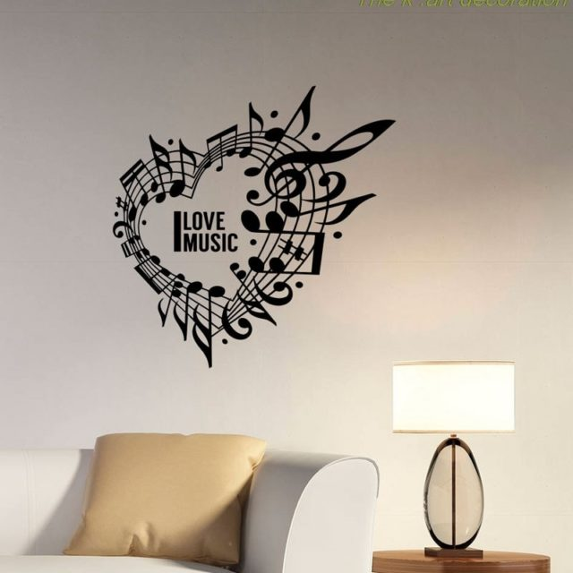I love music heart wall applique music notes treble clef vinyl stickers music logo home room art deco decoration  YY05