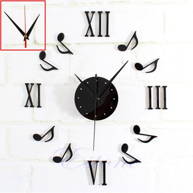 Modern DIY Music Note Mirror Surface Wall Clock Sticker Home Office Decor BlackRamadan Festival Gifts