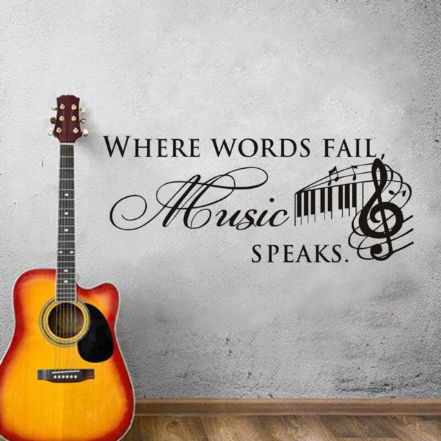 Personality Creative Music Text Wall Sticker Bedroom Music Room Decoration Vinyl Wall Sticker YY27
