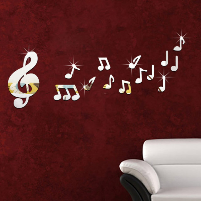14pcs/set Musical Notes Acrylic 3D Mirror Wall Sticker Mural Decal Removable Stickers Living room Decoration Wall Decal Art Home