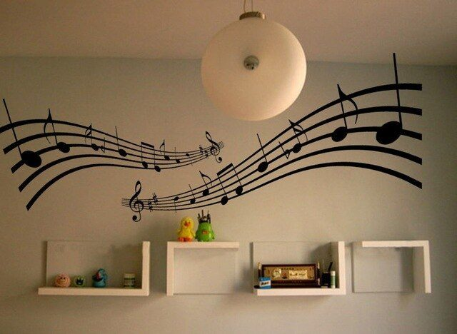 Removable Large Music Notes Melody Wall Stickers Decals Vinyl Home Decal Mural Wall Sticker Living Room Home Decor