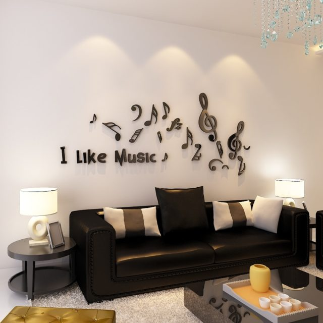 Art 3D Wall Stickers School Music Room Childerns Room Decorations Wall Stickers Home Decor Music Note Sticker Decals Black Red