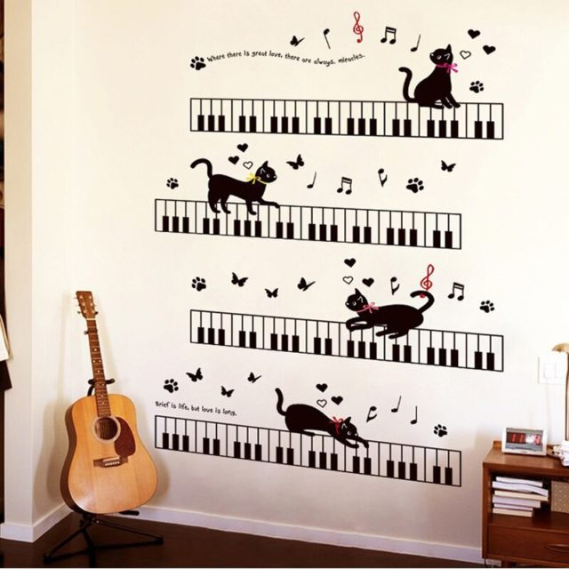 Cat that can play the piano Furniture wall sticker Vinyl DIY cat on the keyboard wall decal For Kids room Music Room Decoration