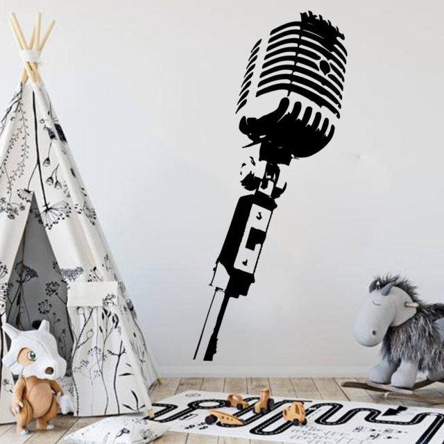 Large Microphone  Music Wall Decal Bedroom Baby Nursery  Microphone  Mic Studio Wall Sticker Classroom Kids Room Vinyl Decor Art