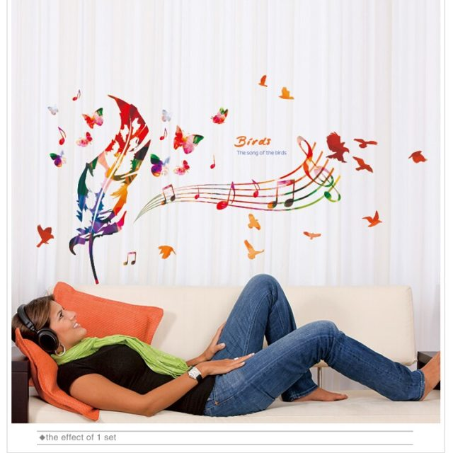 % Colorful Feathers music Wall Stickers Vinyl DIY Musical Notes Wall Decals bedroom Living Room Sofa Background Decoration Art