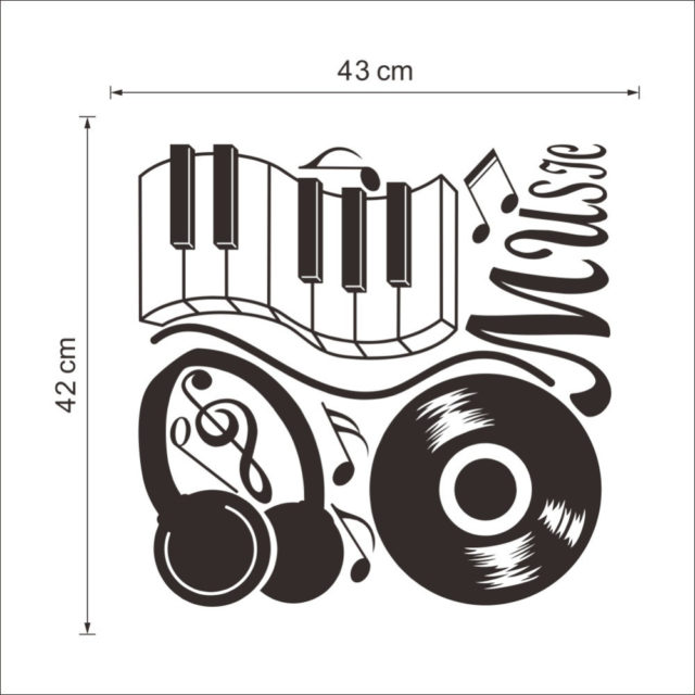 2017 Modern PVC Music Note Headphone Notel Stickers Home Decor Decoration Art Removable Black 42*43CM