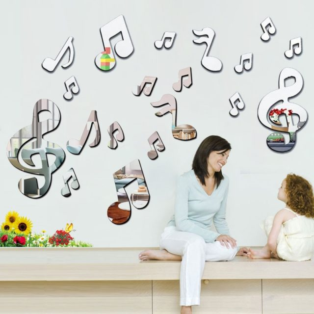 3D Musical Notes Acrylic Mirrors Wall Sticker Home Decor Living Room Wall Decoration Art DIY Stickers Decals