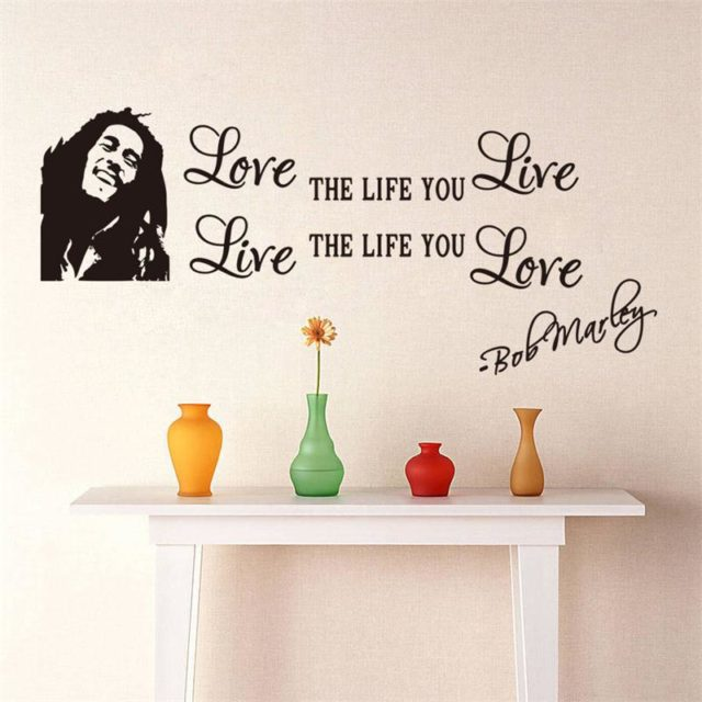 popular famous music Bob Marley quotes vinyl Home Decals poster art Diy wallpaper wall stickers Love Life words  ZY8379