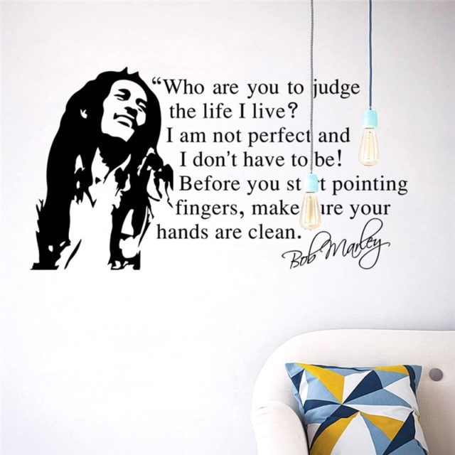 Bob Marley Quotes Vinyl Wall Decals Poster Wall Art Wallpaper Wall Stickers Home Decoration Music Party Supply