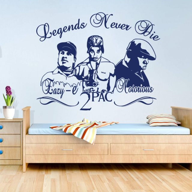 2Pac Tupac Eazy-E Notorious B.I.G Rappers Hip Hop Legends DIY Wall Art Sticker Decal Music Star Vinyl Home Decor