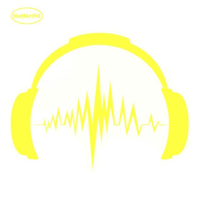 HotMeiNi Interesting Headphones Sound Musical Car Sticker Vinyl Decal For Window Bumper Laptop Waterproof 14*16cm