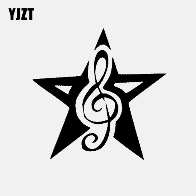YJZT 13CM*12.8CM Car Sticker Decor Decals Vinyl Star With Music Black/Silver C3-0703