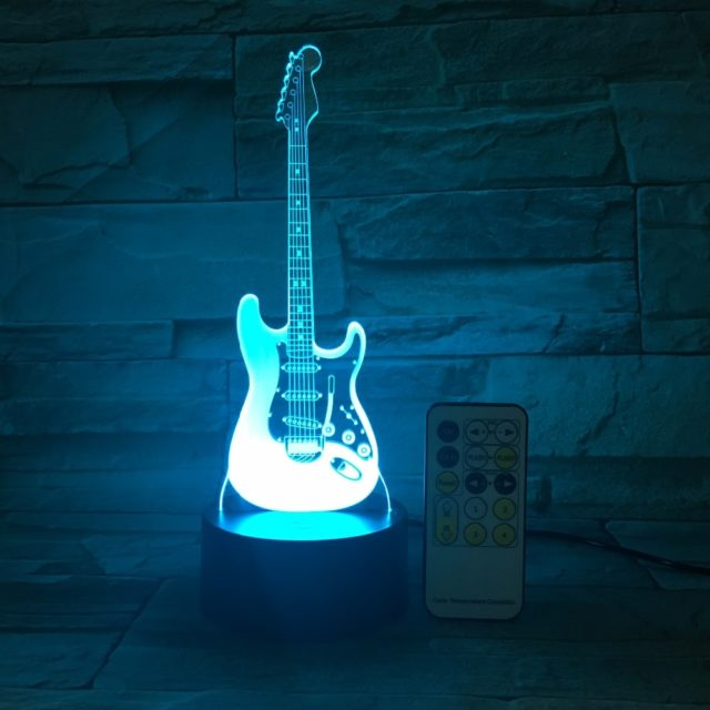 Remote Guitar Night Light 3D LED Lamp 7 Color Change Led USB Touch Control Switch Indoor Atmosphere Lamp Kids' Toys Drop Ship