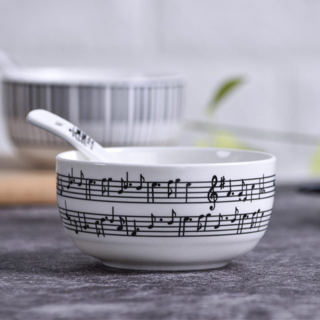 8 Inch Music Note Ceramics Dinner Dish Set