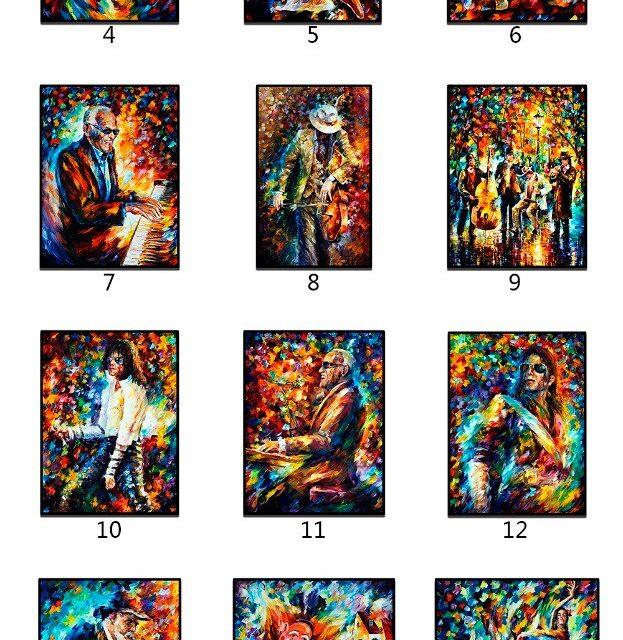 Jazz Musicians - Trumpet/Sax/Guitar Players Print on Canvas
