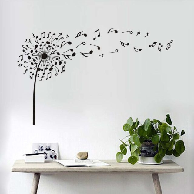 Creative Dandelion Music Notes Wall Decals Decor High Quality Vinyl TV Background Mural PVC Wall Stickers For Bedroom Removable