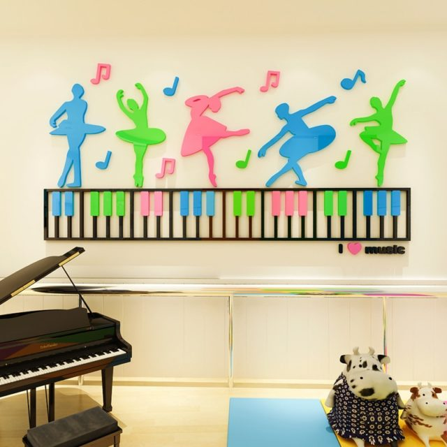 2018 new Music and dance creation 3D stereoscopic wall sticker acrylic children's room classroom decoration class wall layout
