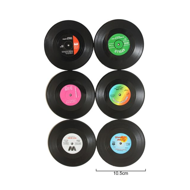 Vinyl Record Drink Coasters (Set of 2/4/6)