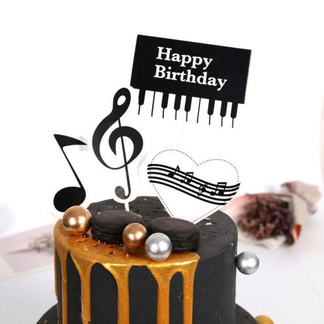 Piano Music Theme Cake Topper  - Set