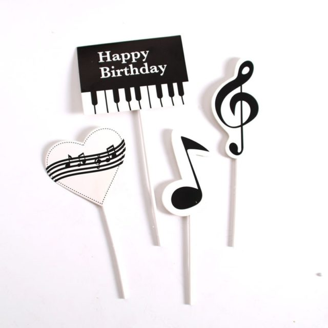 1set Piano Music Theme Cake Topper  Happy Birthday Cupcake Cake Topper Party Supplies Cake DIY Accessories