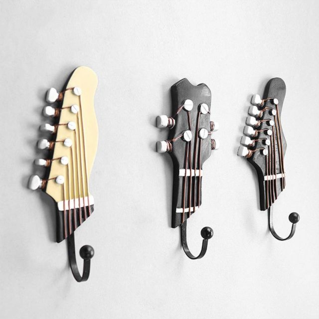 3pcs/set Multi-purpose Retro Style Guitar Heads Home Hooks Resin-made Clothes Hat Hangers Durable Wall-mounted Bag Purse Holder