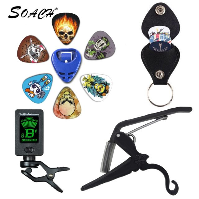 SOACH 2018 NEW Super Value Tool Kit Guitar Tuner + Capo + Plectrum Holder + Key Ring + 6 Colors Picks Guitarra Parts Accessories