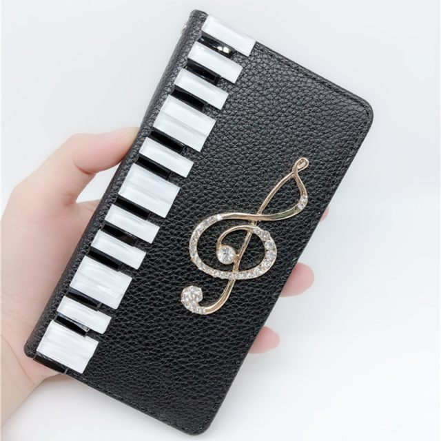 Piano Keys Leather and Rhinestones Booklet Iphone/Samsung Cover- Black/White