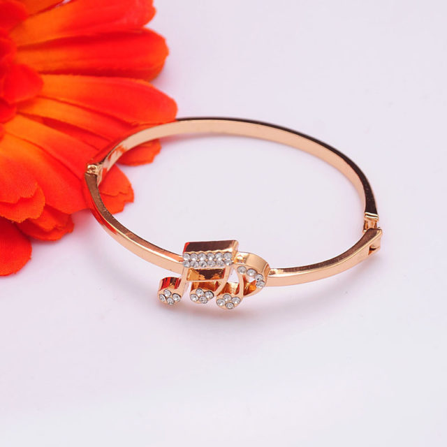 Music Notes Bracelet for Women - Austrian Crystal Rose Gold Color